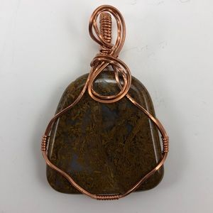 Copper Wrapped Moss Agate Necklace Pendant